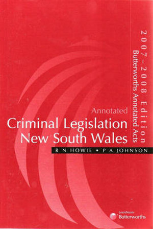 Cover of Annotated Criminal Legislation New South Wales