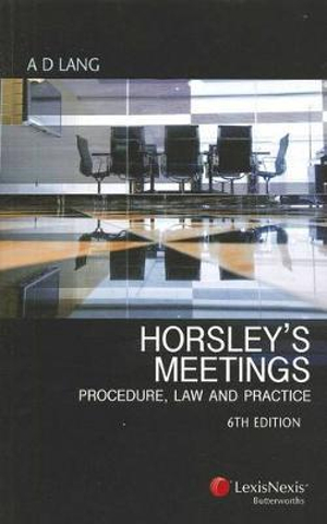Cover of Horsley's Meetings
