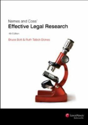 Cover of Nemes and Coss' Effective Legal Research - 4th Edition