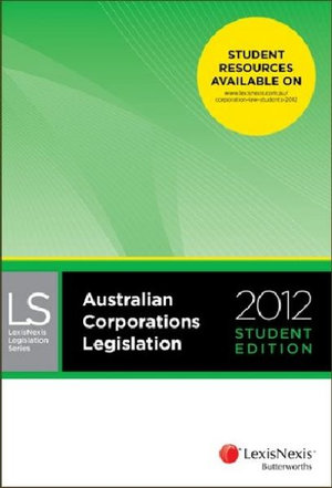 Cover of Australian Corporations Legislation 2012 - Student Edition