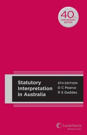 Cover of Statutory Interpretation in Australia