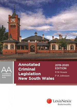 Cover of ANNOTATED CRIMINAL LEGISLATION NEW SOUTH WALES, 2019-2020