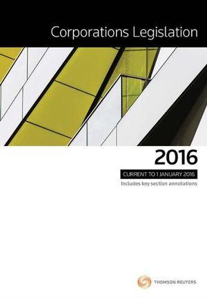 Cover of Corporations Legislation 2016
