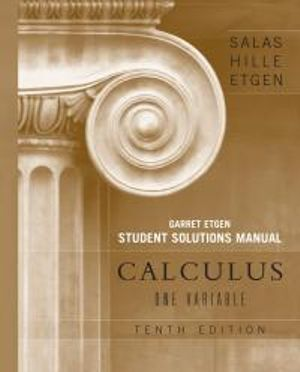 Cover of Calculus One Variable 10E Student Solutions Manual Volume 1 (Chapters 1-12)