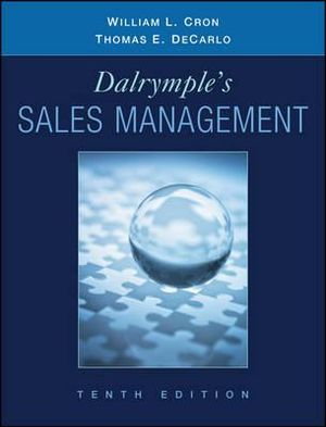 Cover of Sales Management Concepts and Cases 10E