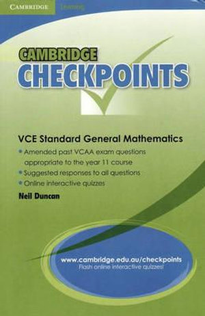 Cover of Cambridge Checkpoints VCE Standard General Maths Units 1&2