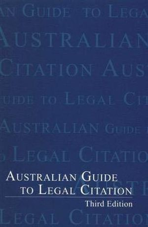 Cover of Australian Guide to Legal Citation