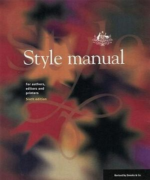 Cover of Style Manual for Authors, Editors and Printers