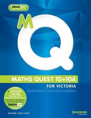 Cover of Maths Quest 10+10a for Victoria