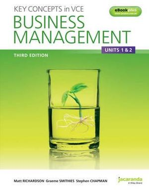 Cover of Key Concepts in VCE Business Management Units 1&2 3E and EBookPLUS
