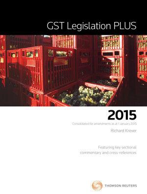 Cover of GST Legislation PLUS 2015