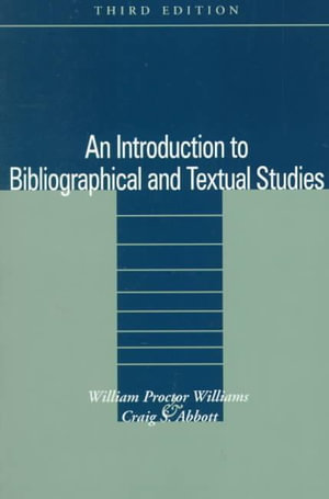 Cover of An Introduction to Bibliographical and Textual Studies