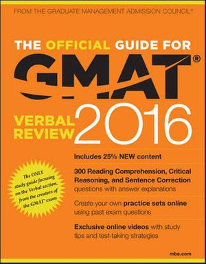 Cover of The Official Guide for GMAT Verbal Review 2016 with Online Question Bank and Exclusive Video