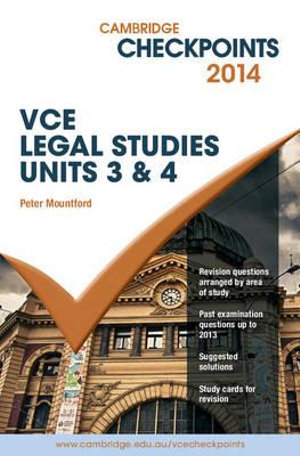 Cover of Cambridge Checkpoints VCE Legal Studies Units 3 and Amp;4 2014