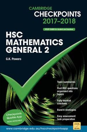 Cover of Cambridge Checkpoints HSC Mathematics General 2 2017-18