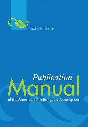 Cover of Publication Manual of the American Psychological Association 6ed