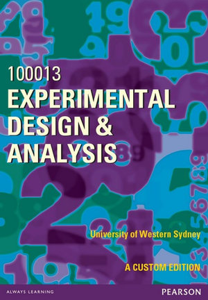 Cover of Experimental Design and Analysis 100013 (Custom Edition)