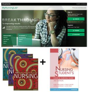 Cover of Value Pack Kozier and Erb's Fundamentals of Nursing Volumes 1-3 Australian Edition + MyNursingLab with eText + Nursing Student's Clinical Survival Guide