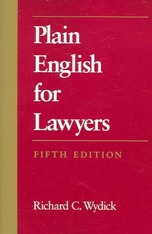 Cover of Plain English for lawyers