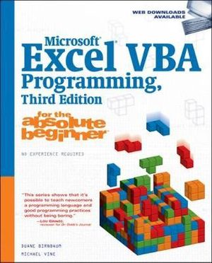 Cover of Microsoft Excel VBA Programming for the Absolute Beginner