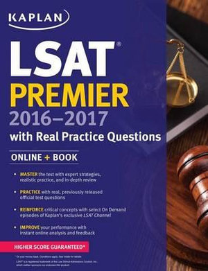 Cover of Kaplan LSAT Premier 2016-2017 with Real Practice Questions