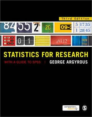 Cover of Statistics for Research: With a Guide to SPSS 3ed