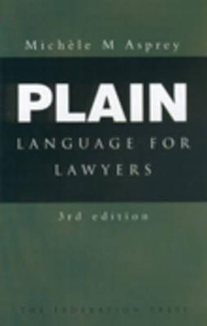 Cover of Plain Language for Lawyers