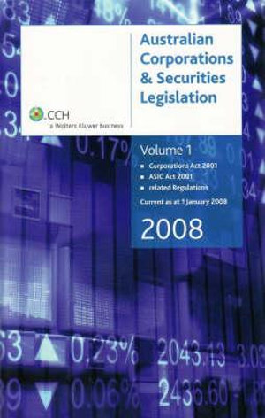 Cover of Corporations Act 2001, ASIC Act 2001, related regulations, current as at 1 January 2010