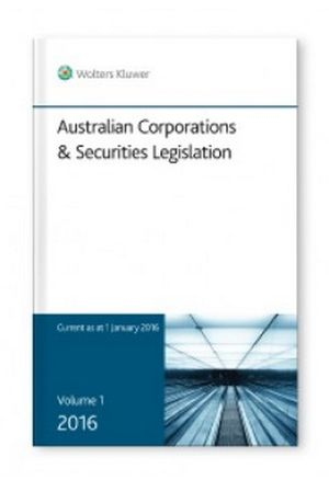 Cover of Australian Corporations and Securities Legislation 2016